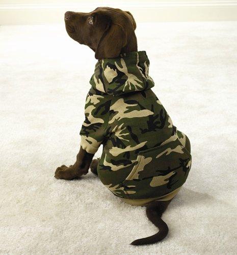 GREEN – X-SMALL – Fashionable, Warm Camo Fleece Hoodies, My Pet Supplies