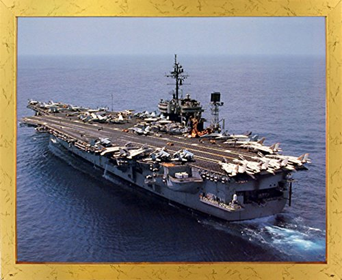 Aircraft Carrier USS Constellation Navy Ship Aviation Wall Decor Golden Framed Picture Art Print (18x22)