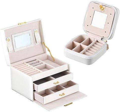 JLL Organizador de Cajas de joyería - Espejo Grande y 2do Piso + Caja pequeña para Collares Aretes Anillos Soporte de Almacenamiento - Embalaje de Regalo para Mujeres niñas (Blanco): Amazon.es: Hogar