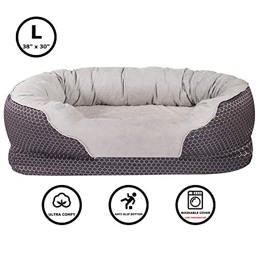 AsFrost Dog Beds with Padded Rim Cushion and Nonslip Bottom, Grooved Orthopedic Dog Beds Snuggly Sleeper with Grooved Orthopedic Foam- Dark Blue (Large - 38'' x 30'')