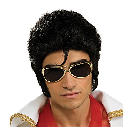 Classic characters Elvis wig short curly hair wig fashion men Wan Chrisas party stage performances props (Classic Wigs Character)