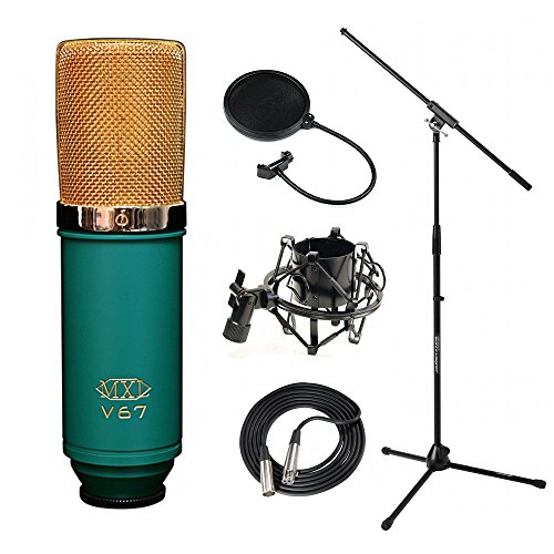 MXL V67G Large Diaphragm Condenser Mic + Shock Mount + Mic Stand + Pop Filter + XLR Cable Bundle