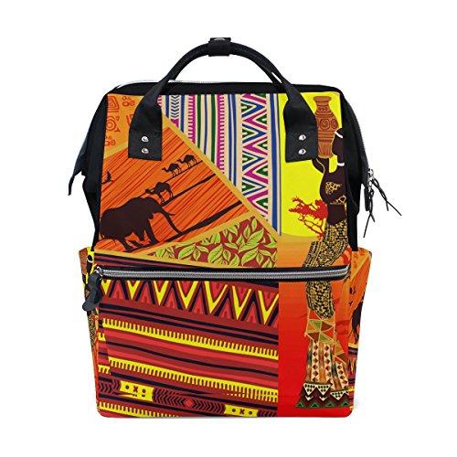 WOZO Africa Women Elephant Zig Zag Multi-function Diaper Bags Backpack Travel Bag by WOZO