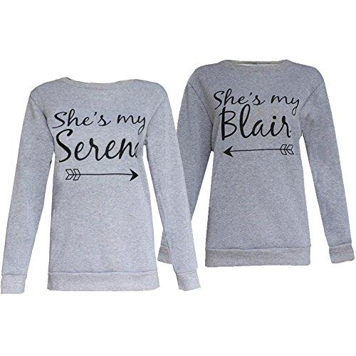 [Anboo BFF Best Friend Bestie She's My Serena/Blair Sweatshirts Blouse (Blair L)] (Serena And Blair Costume)