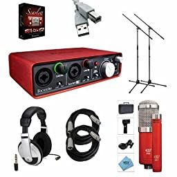 Focusrite Scarlett 2i4 2nd Gen Audio Interface - Bundle With MXL 550/551R Condenser Microphone Kit Red, 2x Pig Hog 20\' 8mm XLR Mic Cable, 2x Samson MK10 LW Boom Mic Stand, Behringer HPM1000 Stereo Headphones