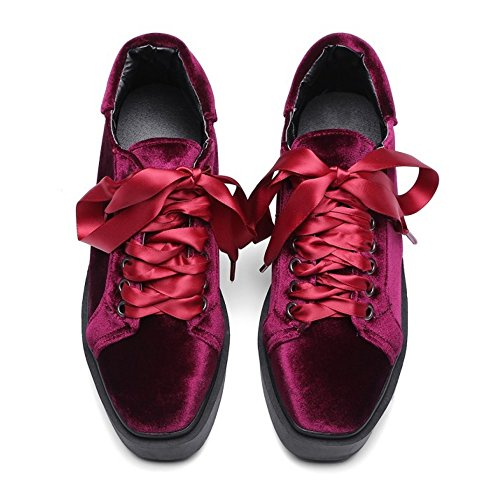 Pumps RAZAMAZA Sneaker Donna Piatta Moda Red Forma HgSpAHr