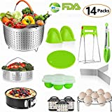Instant Pot Accessories Set, 14 PCS Instant Pot Accessories Compatible with 6,8 Qt - Steamer Basket, Non-stick Spring form Pan, Egg Steamer Rack, Egg Bites Mold, Kitchen Tong etc