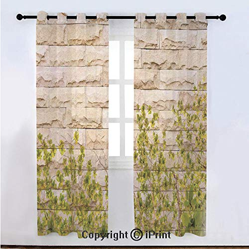 Rustic Home Decor Semi Sheer Voile Window Curtain With Drapes Grommet,Ground Creepy Climbing Wood Ivy Plant Leaf on Brick Wall Nature Invasion,for Bedroom,Living Room & Kids Room(108