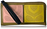 Punched Pocket Leather Flat Zip Wallet Wallet, Moss, One Size