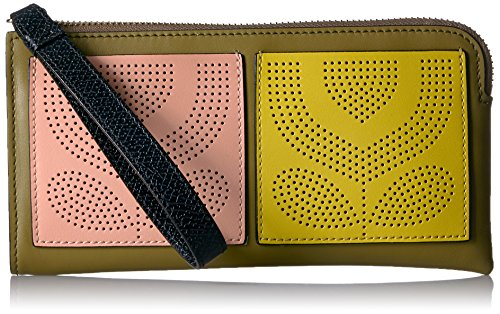 Punched Pocket Leather Flat Zip Wallet Wallet, Moss, One Size by Orla Kiely