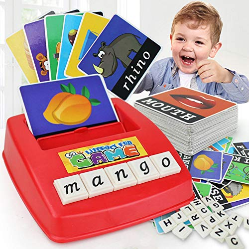 ter Game Cartoon Educational Spelling Words Toy & Increases Memory Interactive Parent-Kids Desk Game (Lower Case Letters) ()