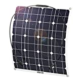 GIARIDE 50W 18V 12V Solar Panel Monocrystalline Cell Flexible Bendable Lightweight Waterproof Off-grid Solar Power System Charger for RV, Boat, Caravans, Motorhome, Camping, and 12V Battery Charging