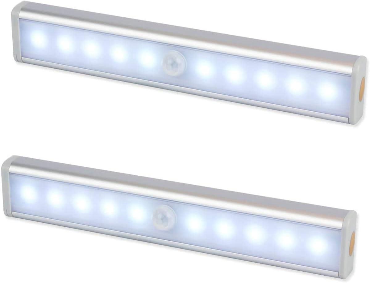 Luz Nocturna,Sensor de Movimiento 10 LED Alimentado Por Batería Sensor de Luz Interior Luz de Armario Luz LED de Armario,Para Armario,Pasillo,Escalera,Sótano,Cocina,Garaje,Gabinete,Baño(2 Pack)