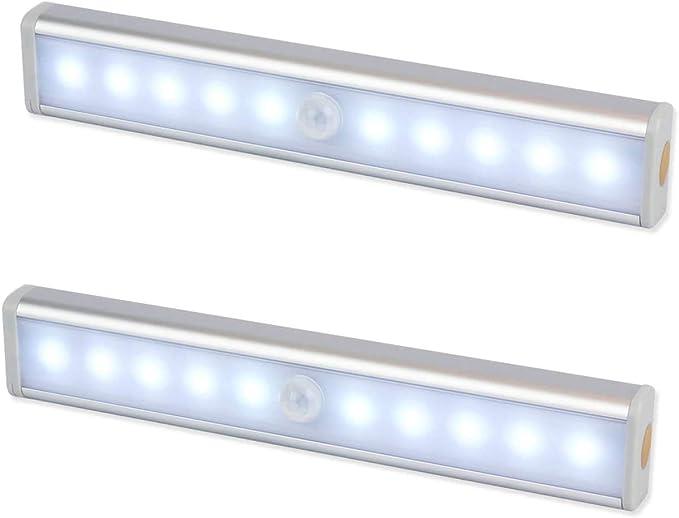 Luz Nocturna,Sensor de Movimiento 10 LED Alimentado Por Batería Sensor de Luz Interior Luz de Armario Luz LED de Armario,Para Armario,Pasillo,Escalera,Sótano,Cocina,Garaje,Gabinete,Baño(2 Pack): Amazon.es: Iluminación