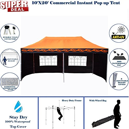 10ft Flame Canopy (10'x20' Pop UP Canopy Wedding Party Tent Instant EZ UP Canopy Orange Flame - F Model Commercial Frame By DELTA)