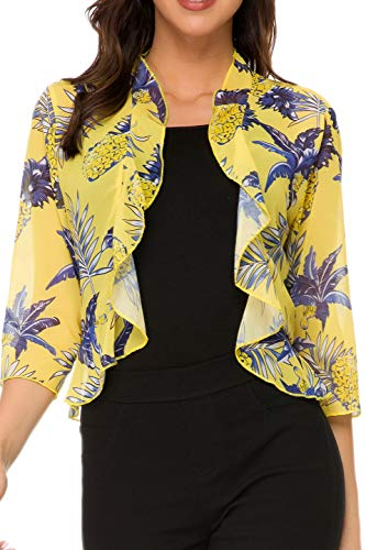 (Women's Open Front Cropped Cardigan 3/4 Sleeve Casual Shrugs Jacket Draped Ruffles Lightweight Sweaters (Pattern2, XX-Large))