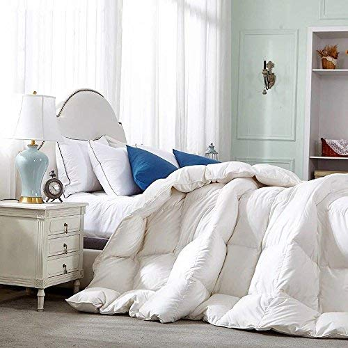 (White Goose Down Feather Comforter Duvet Quilt Insert Hypoallergenic 550 Fill Power,100% Organic Downproof Cotton Shell,Medium Warmth (king100x90inchs))
