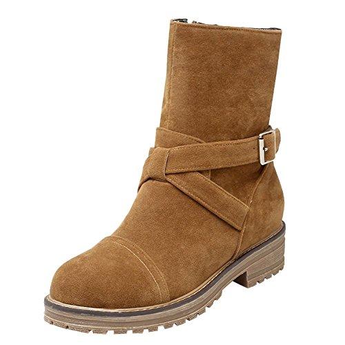 Charm Foot Womens Comfort Low Heel Buckle Zipper Short Boots Yellow R344PkDO