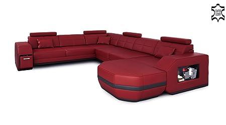 Leder Wohnlandschaft Xxl Weinrot Schwarz Ecksofa Leder Sofa Couch