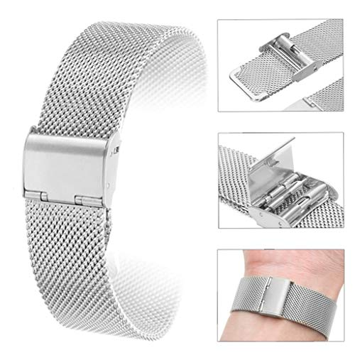 (Wrist Decoration 12mm/14mm/16mm/18mm/20mm/22mm/24mm Stainless Watch Strap Straight Finish Bracelet Mesh Buckle View Band 4 Colors Shellhard )