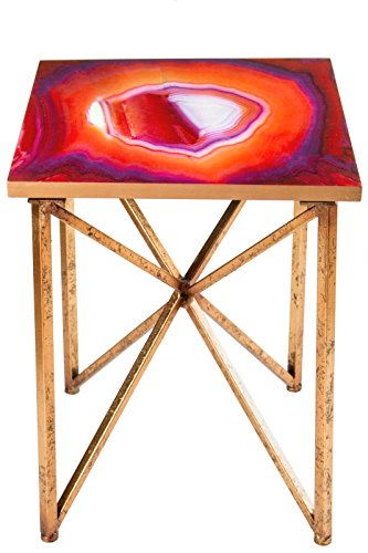 Agate Red Gold (Statements by J Rouge Agate Side Table, Gold/Red)