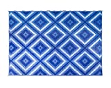 Camco Large Reversible Outdoor Patio Mat-Mold and Mildew Resistant, Easy to Clean, Perfect for Picnics, Cookouts, Camping, and The Beach (9' x 12', Blue and White Zig Zag Design) (42866): more info