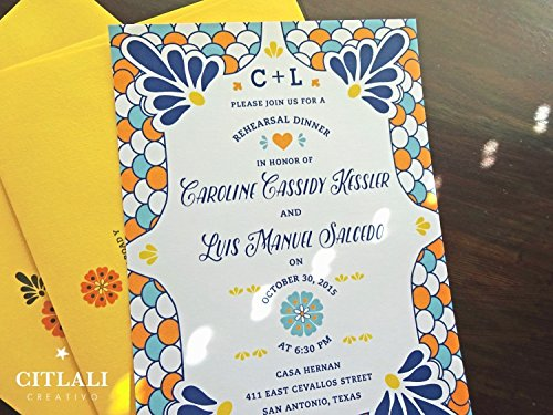 Talavera Rehearsal Dinner Invitation, Set of 10 Spanish Tile Latin Bridal Shower Destination Wedding Theme Destination Rehearsal Dinner Invitations