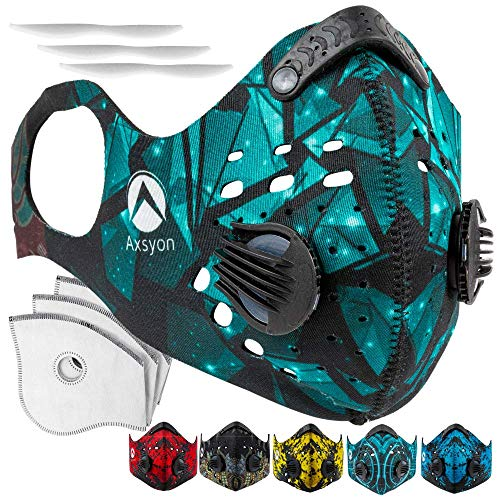 Axsyon Dust Mask with Ear Loops- Activated Carbon Dust Mask- 3 Filters & 2 Valves Included. for House Cleaning, Woodworking, Mowing, Outdoor Activities. N99 (Star Glass)
