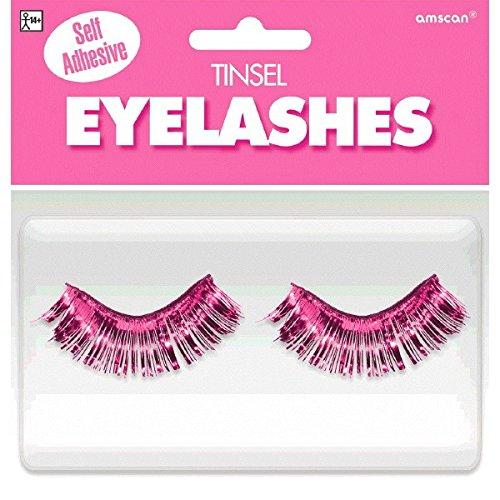 Colored False Eyelashes (Amscan Party Ready Team Spirit Tinsel Eyelashes (2 Piece), Pink, 5.5 x 5.3