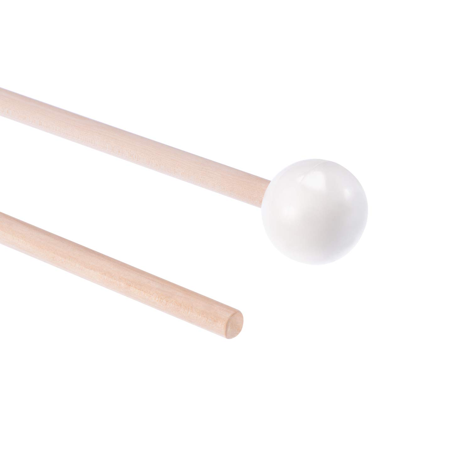 Fanrel 1 Pair of Hard Rubber Mallets Glockenspiel Sticks with Wood Handle for Energy Chime, Xylophone, Wood Block, and Bells(White) 51XW2BkrtfSL