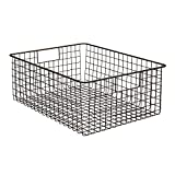 "InterDesign Classico Wire Storage Basket with Handles – 16"" x 12"" x 6"", Bronze, Extra Large"