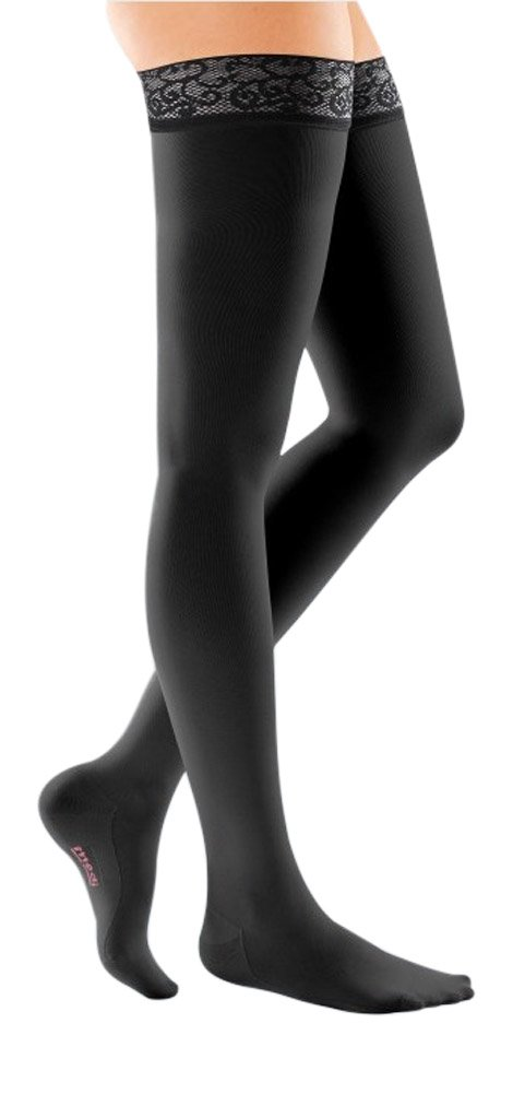 mediven Comfort, 20-30 mmHg, Thigh High Compression Stockings w/Lace Top-Band, Closed Toe (Color: Ebony, Tamaño: III - Petite)