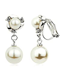 Happystore Womens Fashion Double Shell Pearls Clip on Earrings