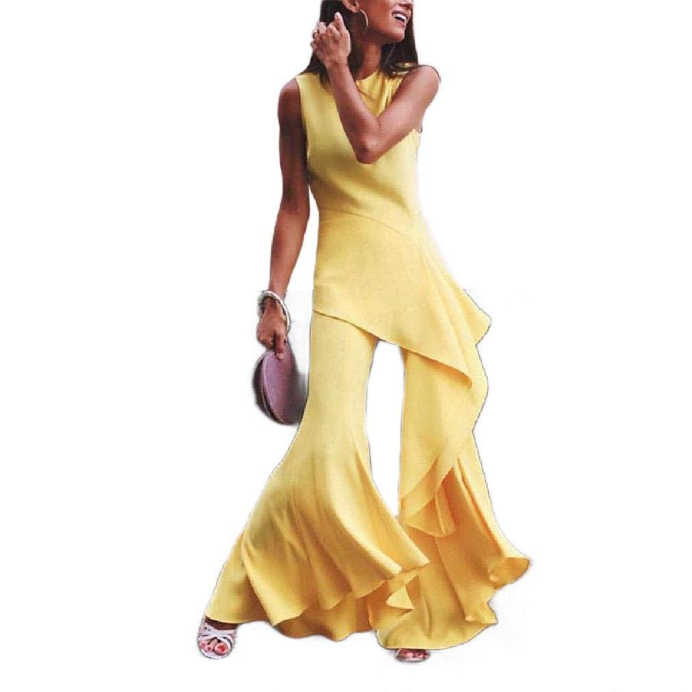 Losait Womens High-Waisted Falbala Bell Bottom Sleeveless Rompers Playsuit