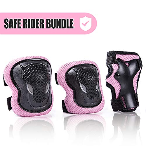 (Kuxuan Girl's Cira Pink Protective Gear Set Including Knee Pads Elbow Pads and Wrist Guards, For Kid Multi Sports Uses: Skateboarding, Roller Skating, Cycling, Balance Biking, and Scooter - Medium)