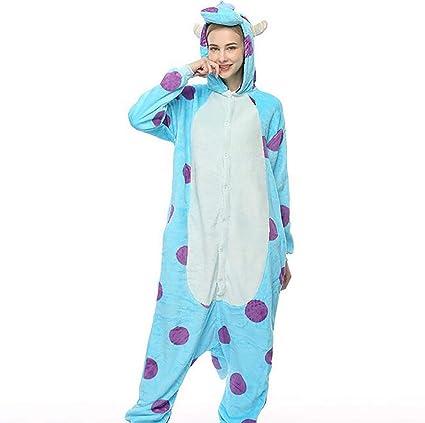 SHANGLY Kigurumi Unisexo Animales Pijamas Vaca Azul Cosplay Halloween Adulto Onesies Disfraz Loungewear,S
