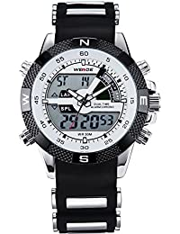 Mens Digital Electronic Waterproof LED Sport Watch Casual Quartz Military Multifunction 12H/24H Time Back. WEIDE