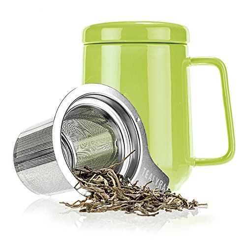 Tealyra - Peak Ceramic Lime Tea Cup Infuser - 19-ounce - Large Tea High-Fired Ceramic Mug with Lid and Stainless Steel Infuser - Tea-For-One Perfect Set for Office and Home Uses - 580 milliliter