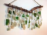 Green with Envy Seaglass Suncatcher Driftwood Mobile Lake Erie Beach Glass Art Eco Friendly Art Peridot August Birthstone Beach Wedding