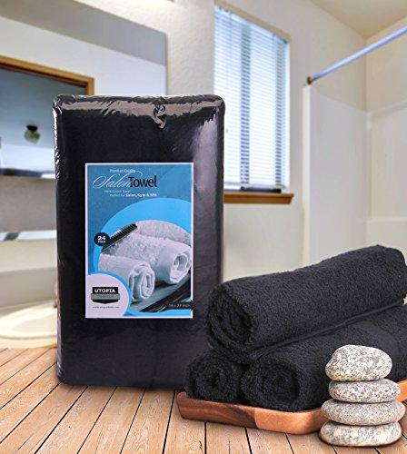 24 Pack Lot Salon Towel Gym Hand Towel Cotton 16/'/'X 27/'/' BLACK  BRAND NEW