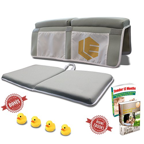 (Bath Kneeler Pad & Soft Elbow Rest Cushion, Upgraded Thicker Bath Kneeling Mat with Non-Slip Suction Cups, Smart Organizer, Bathtub Comfort, Toy Ducks Included for Baby baths)