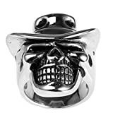 PAURO Men's Stainless Steel High Polished Cowboy Hat Skull Silver Ring Size 12