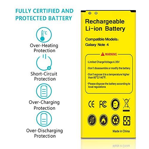 Galaxy Note 4 Battery, Euhan 3500mAh Li-ion Replacement Battery for Samsung Galaxy Note 4 N910, Verizon N910V, AT&T N910A, Sprint N910P, T-Mobile N910T, N910F, Note4 Spare Battery