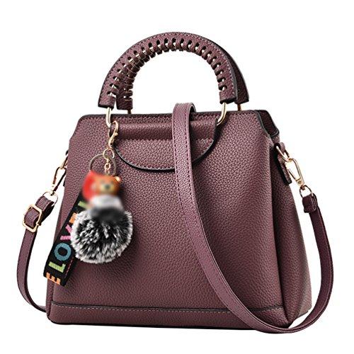 LINNUO Mujer Bolsos PU Cuero Bolso de Mano Color Sólido Bolsa De Hombro Shopping Bolsa de Mensajero Casual morado