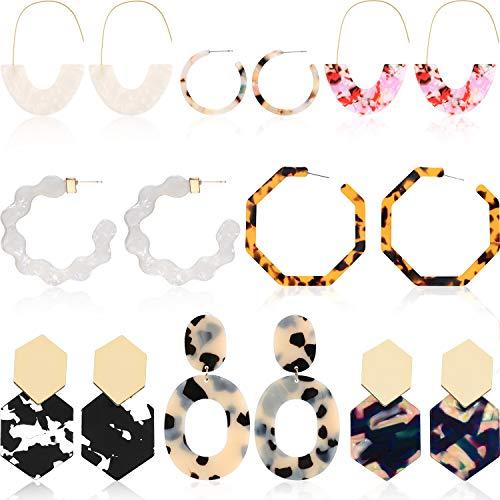 8 Pairs Resin Drop Hoop Dangle Earrings Acrylic Tortoise Shell Statement Earrings in Bohemian Style for Women Girls ()