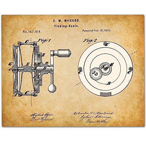 Fishing Reel - 11x14 Unframed Patent Print - Makes a Great Gift Under $15for Fishermen, Lake House or Cabin Decor