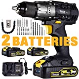 Cordless Drill, 20V Drill Driver 2x2000mAh Batteries, 30Min Fast Charger 4.0A, 530 In-lbs Torque, 24+1 Torque Setting, 2-Variable Speed, 29pcs Accessories, 1/2' Metal Keyless Chuck