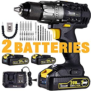 Cordless Drill, 20V Drill Driver 2x2000mAh Batteries, 30Min Fast Charger 4.0A, 530 In-lbs Torque, 24+1 Torque Setting, 2-Variable Speed, 29pcs Accessories, 1/2″ Metal Keyless Chuck