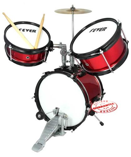 Fever DS-03-RD Red Pieces Kids Drum Set with Sticks and Cymbal