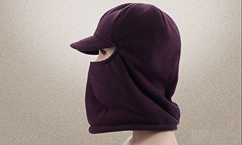 Leories Winter Windproof Cap Fleece Balaclava Hooded Face Mask Neck Warmer Ski Hood Snowboard Mask Wind Protector Ski Hat Purple